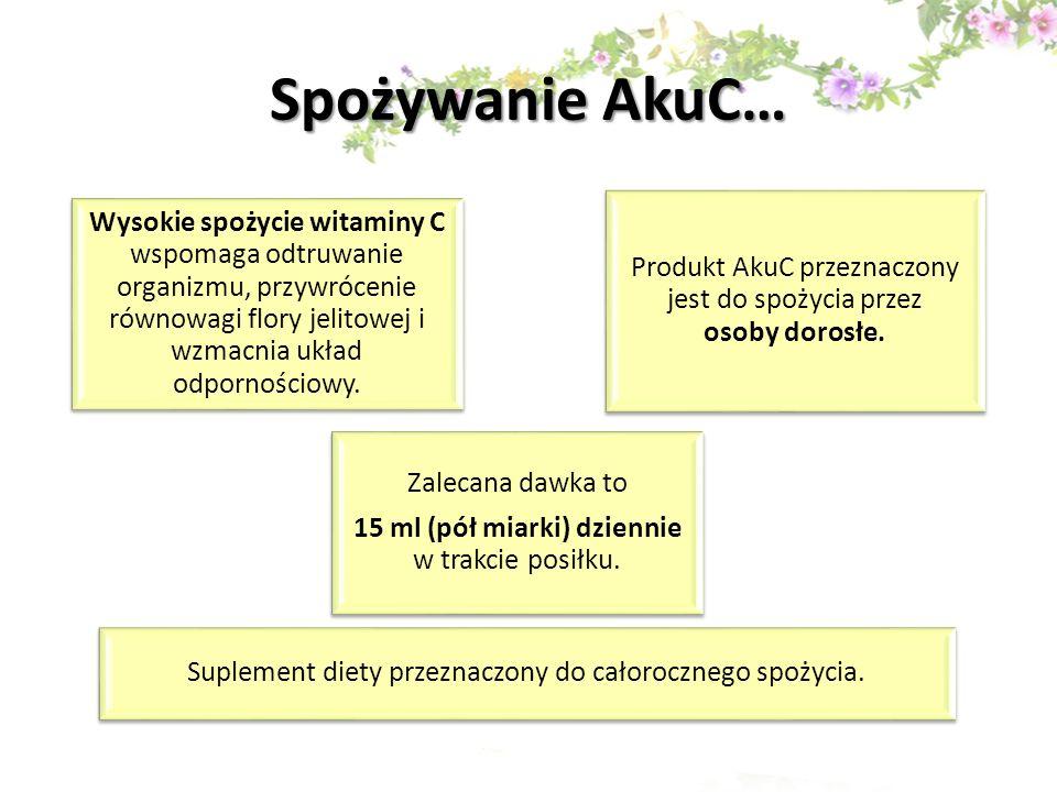 Spożywanie AkuC… Wysokie spożycie witaminy C wspomaga odtruwanie organizmu, przywrócenie równowagi flory jelitowej i wzmacnia układ odpornościowy. Pro