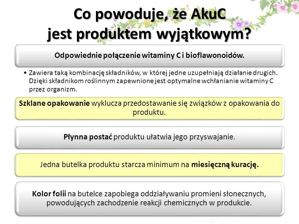 Co powoduje, że AkuC jest produktem wyjątkowym? Odpowiednie połączenie witaminy C i bioflawonoidów. Zawiera taką kombinację składników, w której jedne
