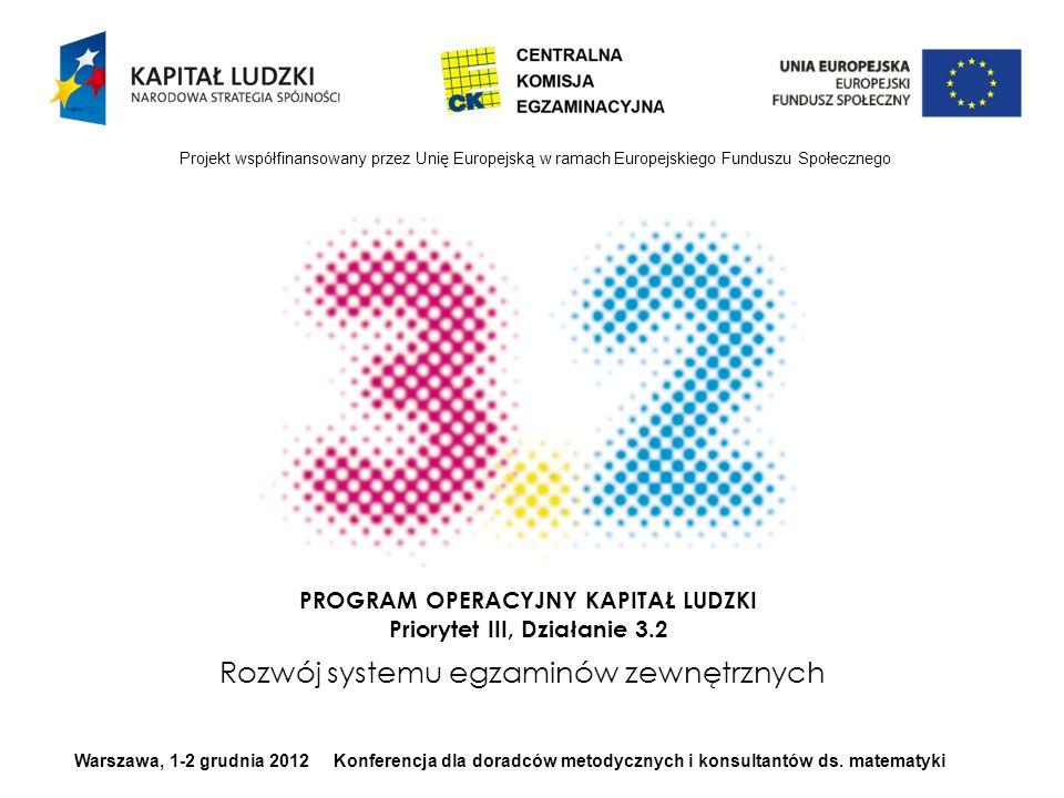 Projekt współfinansowany przez Unię Europejską w ramach Europejskiego Funduszu Społecznego Warszawa, 1-2 grudnia 2012 Konferencja dla doradców metodycznych i konsultantów ds.