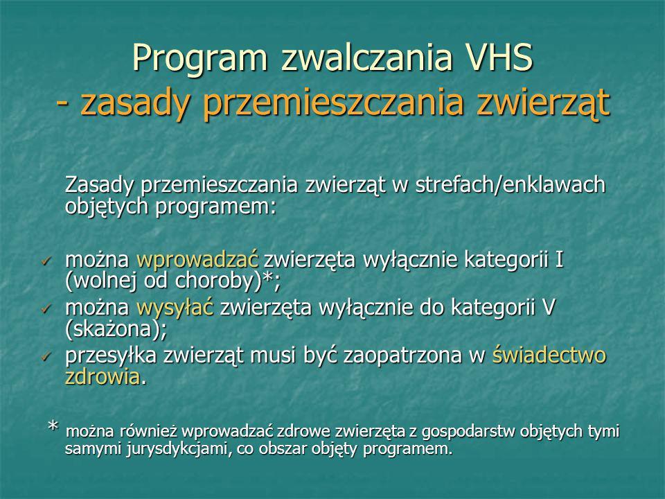 Program zwalczania VHS - zasady przemieszczania zwierząt Zasady przemieszczania zwierząt w strefach/enklawach objętych programem: można wprowadzać zwi