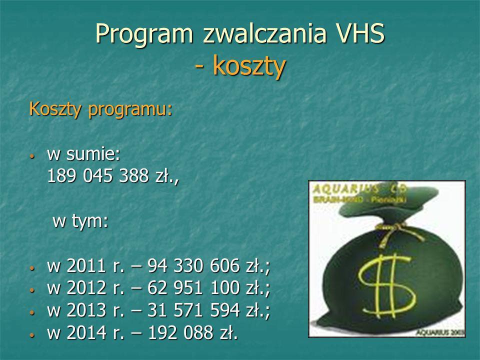 Program zwalczania VHS - koszty Koszty programu: w sumie: w sumie: 189 045 388 zł., 189 045 388 zł., w tym: w tym: w 2011 r. – 94 330 606 zł.; w 2011