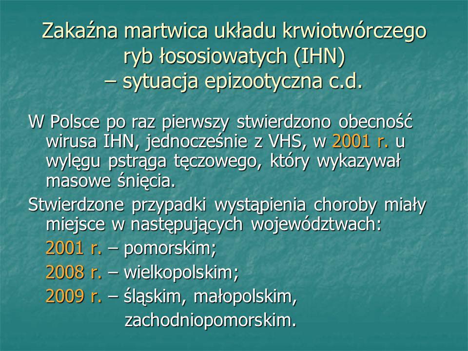 Zakaźna martwica układu krwiotwórczego ryb łososiowatych (IHN) – sytuacja epizootyczna c.d. W Polsce po raz pierwszy stwierdzono obecność wirusa IHN,