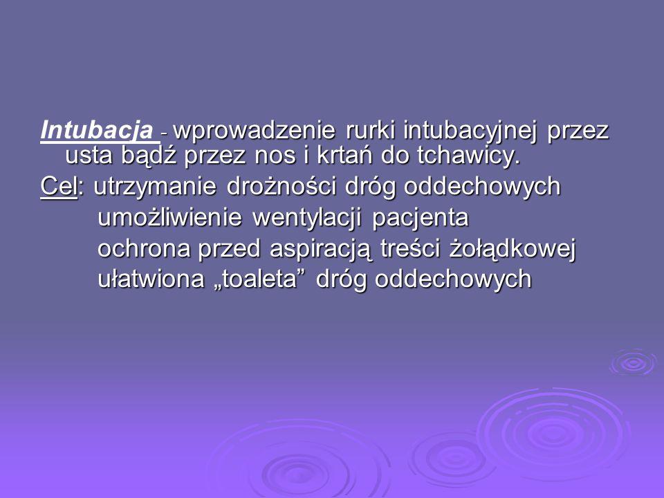 - wprowadzenie rurki intubacyjnej przez usta bądź przez nos i krtań do tchawicy. Intubacja - wprowadzenie rurki intubacyjnej przez usta bądź przez nos