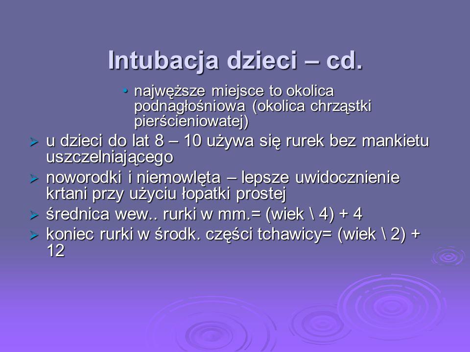Intubacja dzieci – cd. najwęższe miejsce to okolica podnagłośniowa (okolica chrząstki pierścieniowatej)najwęższe miejsce to okolica podnagłośniowa (ok
