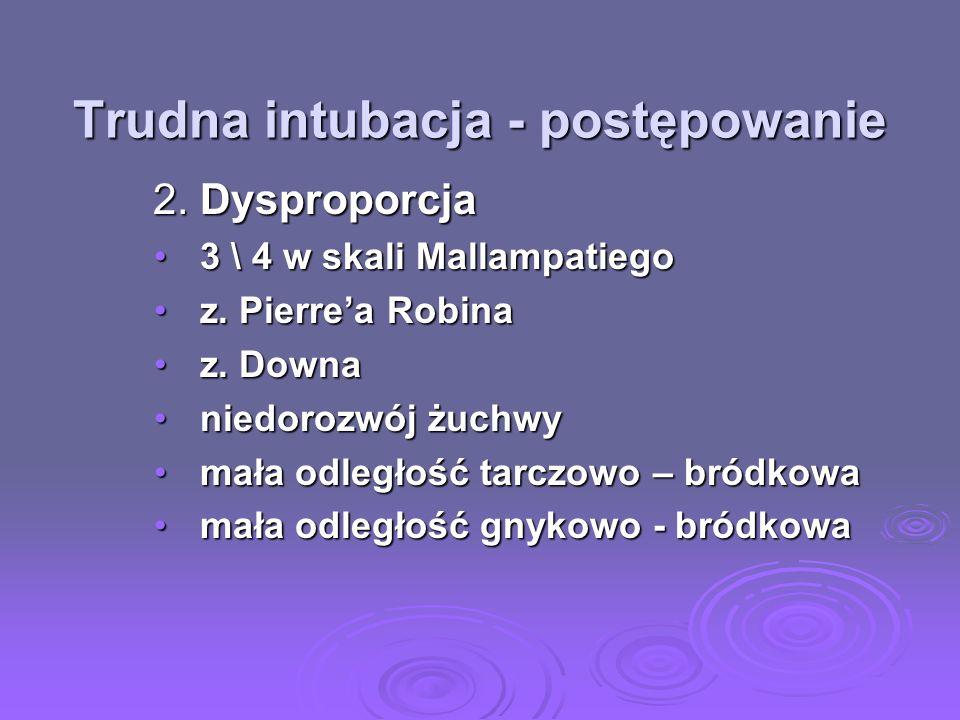 Trudna intubacja - postępowanie 2. Dysproporcja 2. Dysproporcja 3 \ 4 w skali Mallampatiego3 \ 4 w skali Mallampatiego z. Pierrea Robinaz. Pierrea Rob