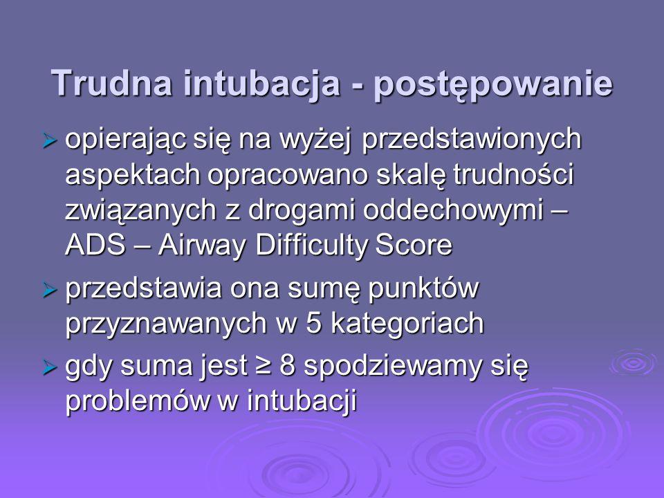 Trudna intubacja - postępowanie opierając się na wyżej przedstawionych aspektach opracowano skalę trudności związanych z drogami oddechowymi – ADS – A