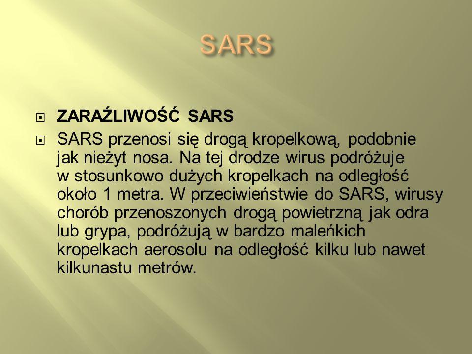 ZARAŹLIWOŚĆ SARS SARS przenosi się drogą kropelkową, podobnie jak nieżyt nosa. Na tej drodze wirus podróżuje w stosunkowo dużych kropelkach na odległo