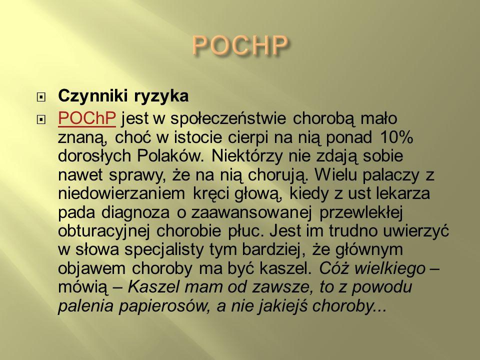 Czynniki ryzyka POChP jest w społeczeństwie chorobą mało znaną, choć w istocie cierpi na nią ponad 10% dorosłych Polaków. Niektórzy nie zdają sobie na