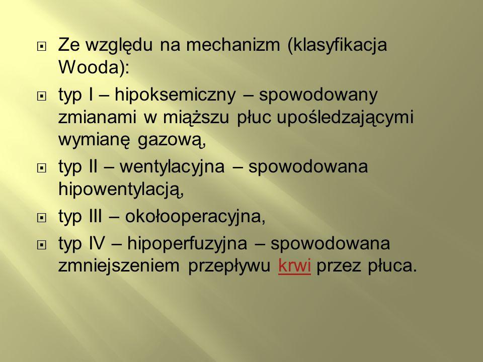 Ze względu na mechanizm (klasyfikacja Wooda): typ I – hipoksemiczny – spowodowany zmianami w miąższu płuc upośledzającymi wymianę gazową, typ II – wen