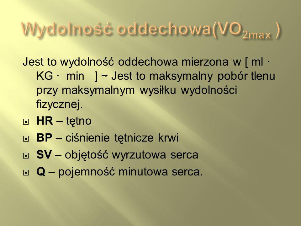 Jest to wydolność oddechowa mierzona w [ ml · KG · min ] ~ Jest to maksymalny pobór tlenu przy maksymalnym wysiłku wydolności fizycznej. HR – tętno BP