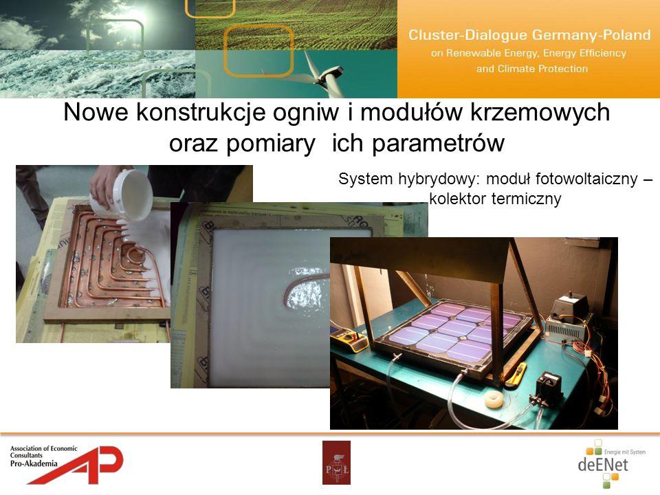 Nowe konstrukcje ogniw i modułów krzemowych oraz pomiary ich parametrów System hybrydowy: moduł fotowoltaiczny – kolektor termiczny