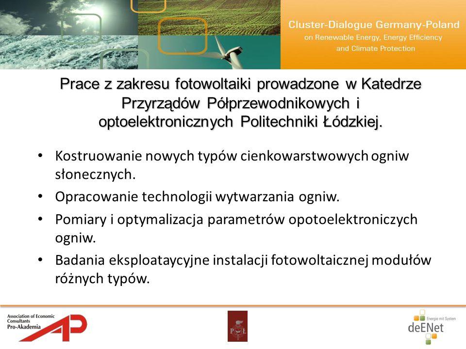 Prace z zakresu fotowoltaiki prowadzone w Katedrze Przyrządów Półprzewodnikowych i optoelektronicznych Politechniki Łódzkiej. Kostruowanie nowych typó