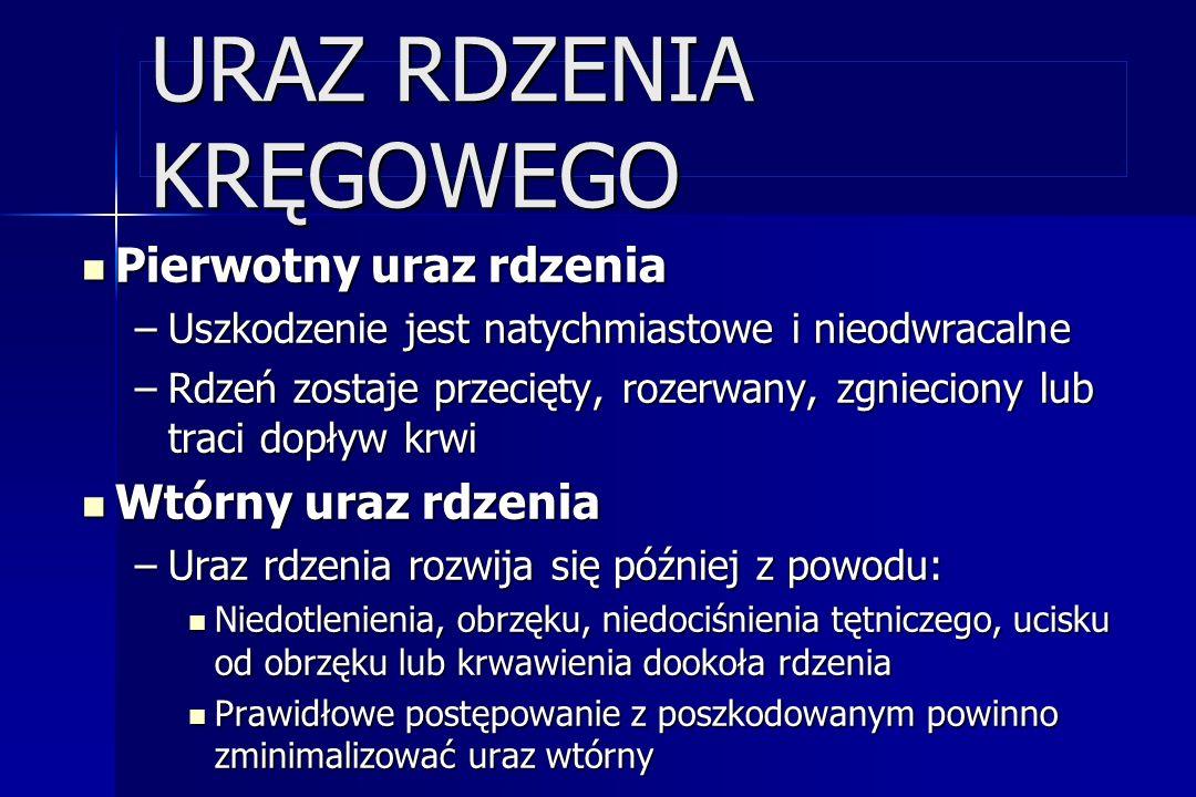 URAZ RDZENIA KRĘGOWEGO Pierwotny uraz rdzenia Pierwotny uraz rdzenia –Uszkodzenie jest natychmiastowe i nieodwracalne –Rdzeń zostaje przecięty, rozerw