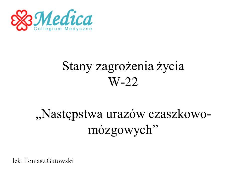 Stany zagrożenia życia W-22 Następstwa urazów czaszkowo- mózgowych lek. Tomasz Gutowski