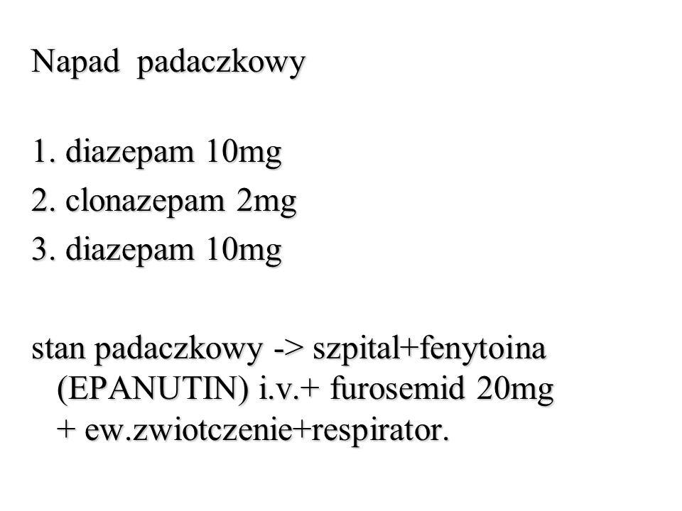 Napad padaczkowy 1. diazepam 10mg 2. clonazepam 2mg 3. diazepam 10mg stan padaczkowy -> szpital+fenytoina (EPANUTIN) i.v.+ furosemid 20mg + ew.zwiotcz