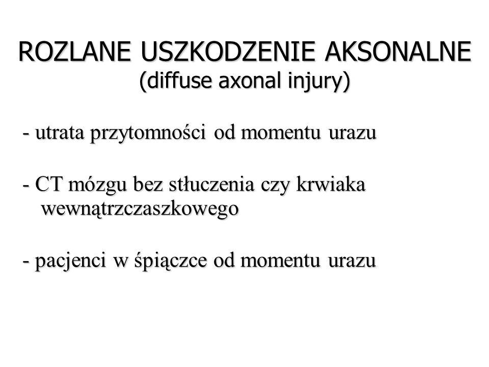 ROZLANE USZKODZENIE AKSONALNE (diffuse axonal injury) - utrata przytomności od momentu urazu - CT mózgu bez stłuczenia czy krwiaka wewnątrzczaszkowego