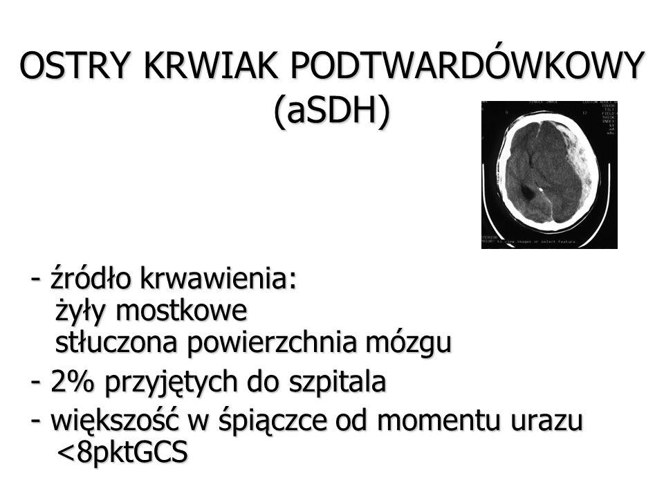 OSTRY KRWIAK PODTWARDÓWKOWY (aSDH) - źródło krwawienia: żyły mostkowe stłuczona powierzchnia mózgu - 2% przyjętych do szpitala - większość w śpiączce