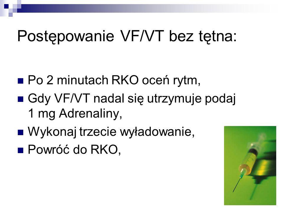 Postępowanie VF/VT bez tętna: Po 2 minutach RKO oceń rytm, Gdy VF/VT nadal się utrzymuje podaj 1 mg Adrenaliny, Wykonaj trzecie wyładowanie, Powróć do
