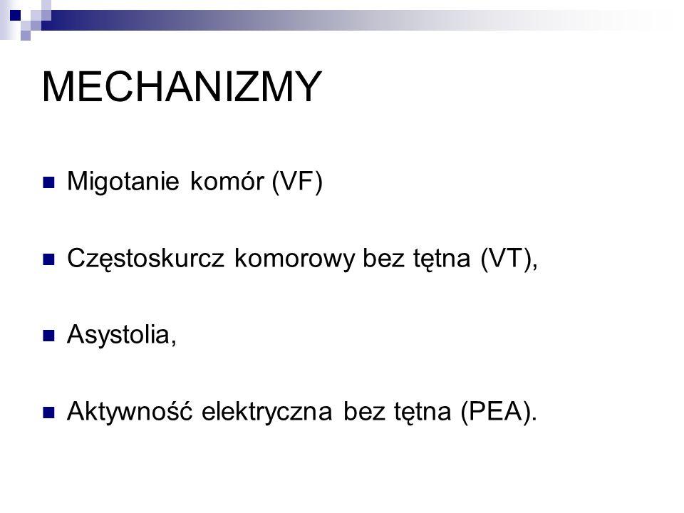 MECHANIZMY Migotanie komór (VF) Częstoskurcz komorowy bez tętna (VT), Asystolia, Aktywność elektryczna bez tętna (PEA).