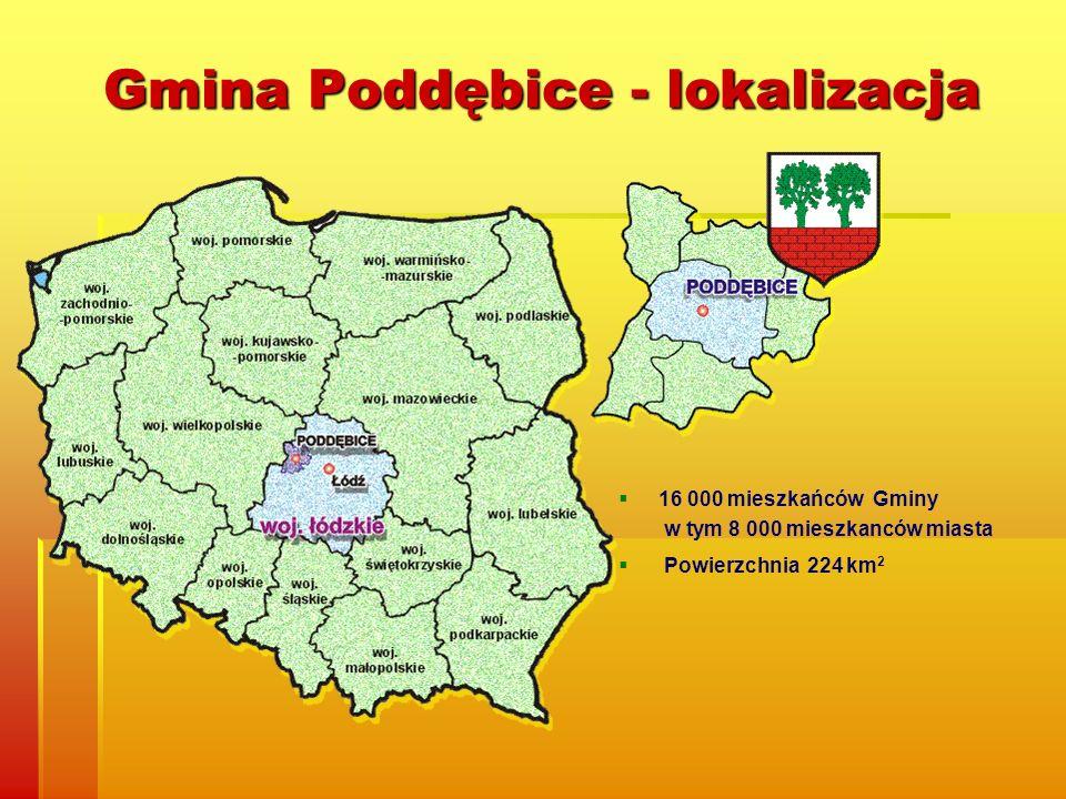 Gmina Poddębice - lokalizacja 16 000 mieszkańców Gminy w tym 8 000 mieszkanców miasta Powierzchnia 224 km 2