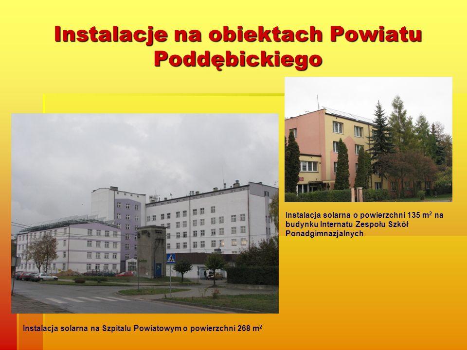 Instalacje na obiektach Powiatu Poddębickiego Instalacja solarna na Szpitalu Powiatowym o powierzchni 268 m 2 Instalacja solarna o powierzchni 135 m 2