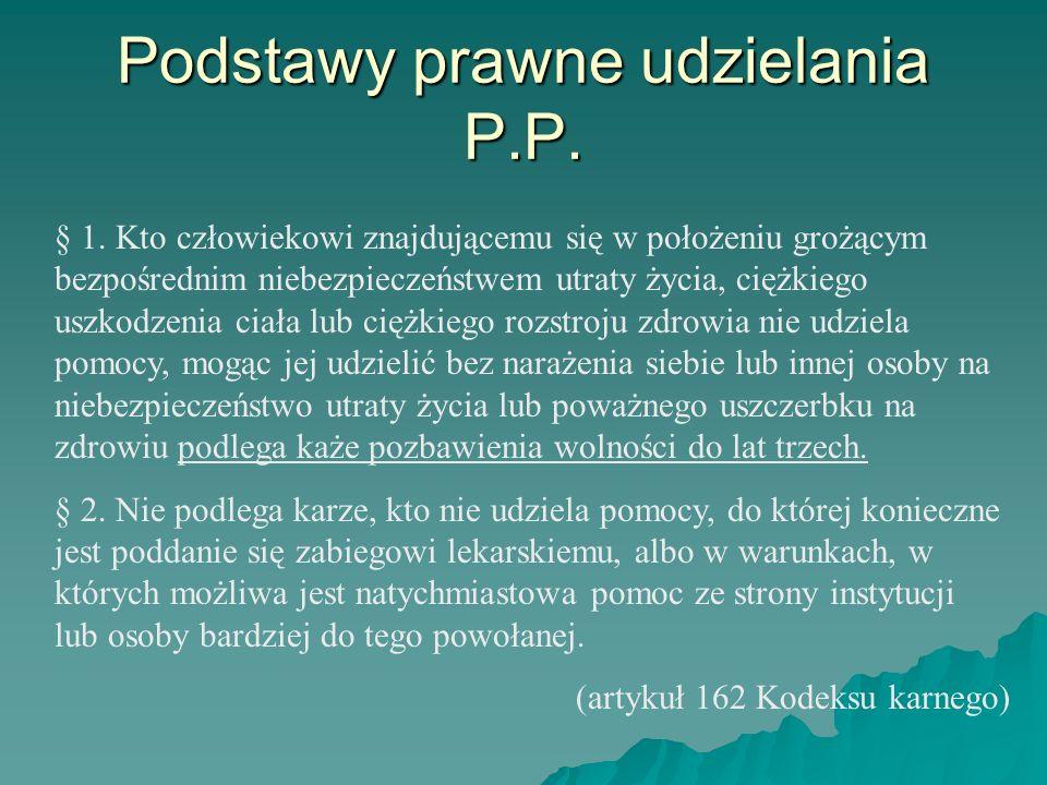 Podstawy prawne udzielania P.P. § 1. Kto człowiekowi znajdującemu się w położeniu grożącym bezpośrednim niebezpieczeństwem utraty życia, ciężkiego usz