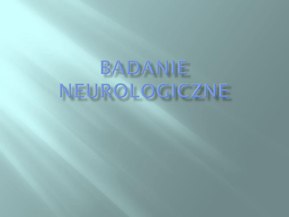 W czasie rozmowy z pacjentem zwracamy uwagę na takie objawy jak bóle głowy, nie miłe dla pacjenta odczucia (parestezje) i ból w obrębie kończyn, zawroty głowy, zaburzenia świadomości, drgawki, zaburzenia widzenia (podwójne widzenie, utrata pola widzenia), niedowłady kończyn, zaburzenia chodu, zaburzenia oddawania moczu ( zatrzymanie lub nietrzymanie), zaburzenia snu.