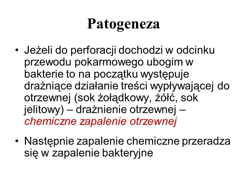 Patogeneza Jeżeli do perforacji dochodzi w odcinku przewodu pokarmowego ubogim w bakterie to na początku występuje drażniące działanie treści wypływaj