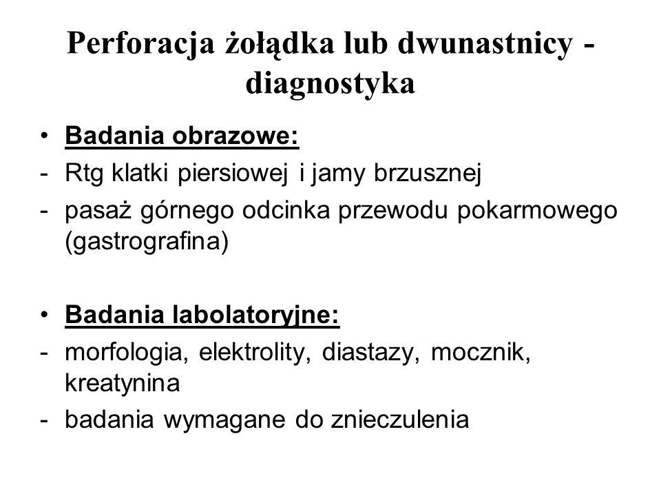Perforacja żołądka lub dwunastnicy - diagnostyka Badania obrazowe: -Rtg klatki piersiowej i jamy brzusznej -pasaż górnego odcinka przewodu pokarmowego