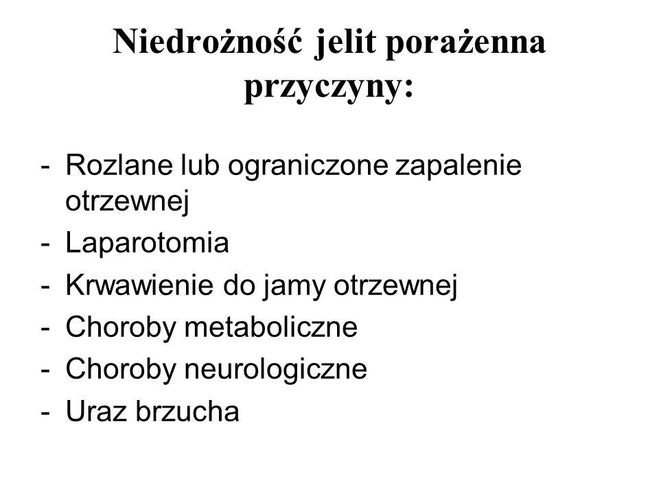 Niedrożność jelit porażenna przyczyny: -Rozlane lub ograniczone zapalenie otrzewnej -Laparotomia -Krwawienie do jamy otrzewnej -Choroby metaboliczne -