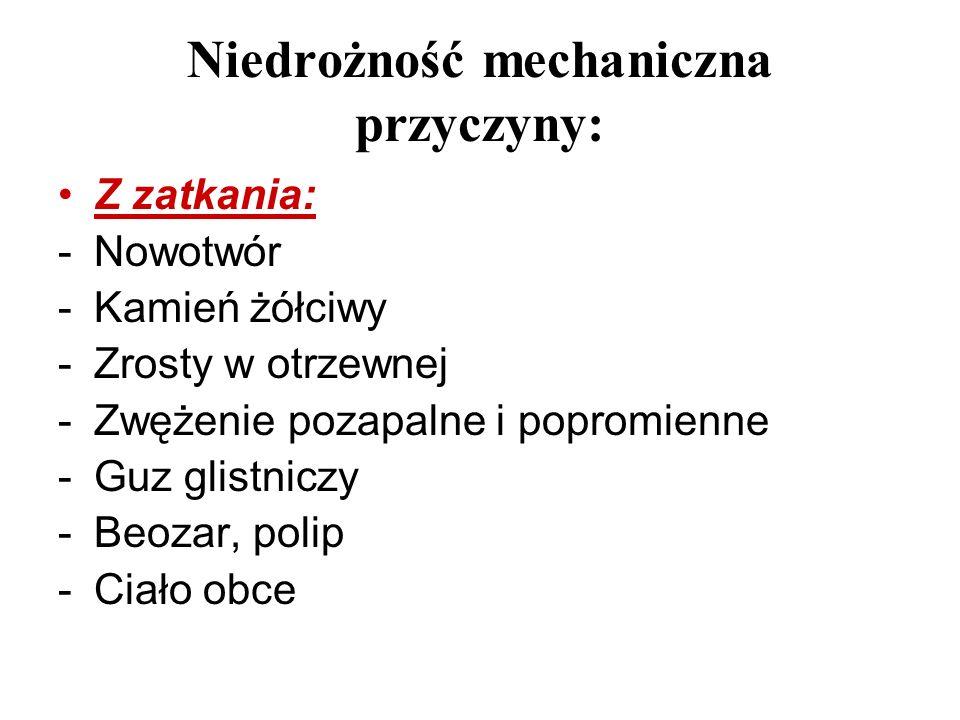 Niedrożność mechaniczna przyczyny: Z zatkania: -Nowotwór -Kamień żółciwy -Zrosty w otrzewnej -Zwężenie pozapalne i popromienne -Guz glistniczy -Beozar