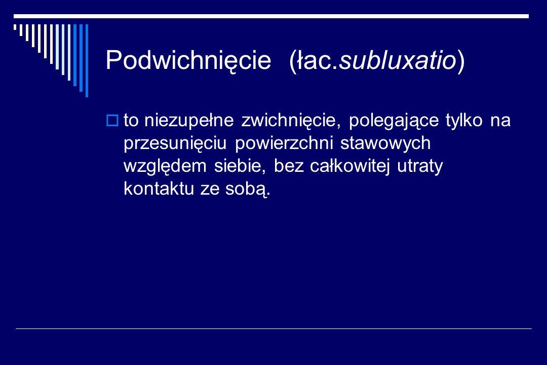 Podwichnięcie (łac.subluxatio) to niezupełne zwichnięcie, polegające tylko na przesunięciu powierzchni stawowych względem siebie, bez całkowitej utrat