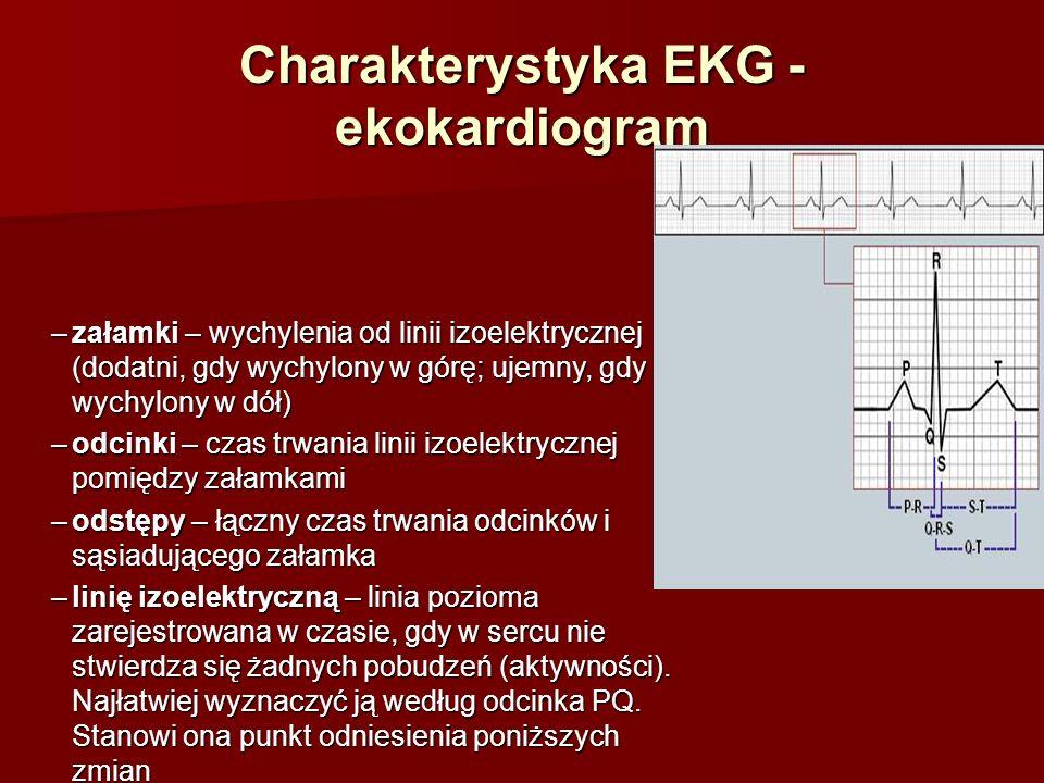 Charakterystyka EKG - ekokardiogram Załamki: –załamek P – jest wyrazem depolaryzacji mięśnia przedsionków (dodatni we wszystkich 11 odprowadzeniach, poza aVR, gdzie jest ujemny) –zespół QRS – odpowiada depolaryzacji mięśnia komór –załamek T – odpowiada repolaryzacji komór –załamek U – występuje sporadycznie