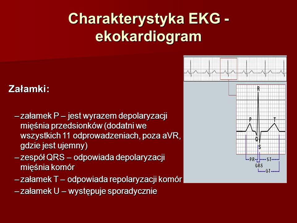 Charakterystyka EKG - ekokardiogram Odcinki: –odcinek PQ – wyraża czas przewodzenia depolaryzacji przez węzeł przedsionkowo- komorowy (AV) –odcinek ST – okres depolaryzacji komór