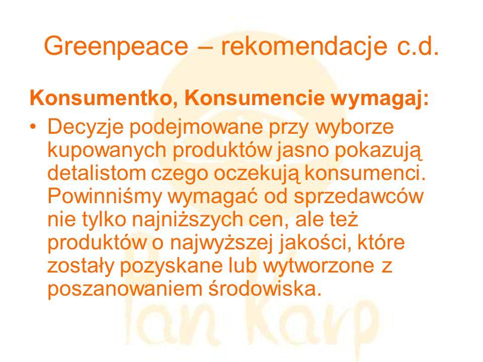 Greenpeace – rekomendacje c.d. Konsumentko, Konsumencie wymagaj: Decyzje podejmowane przy wyborze kupowanych produktów jasno pokazują detalistom czego