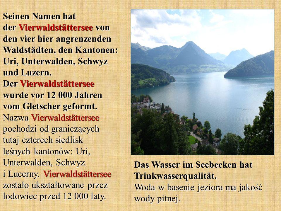 Seinen Namen hat der Vierwaldstättersee von den vier hier angrenzenden Waldstädten, den Kantonen: Uri, Unterwalden, Schwyz und Luzern. Der Vierwaldstä
