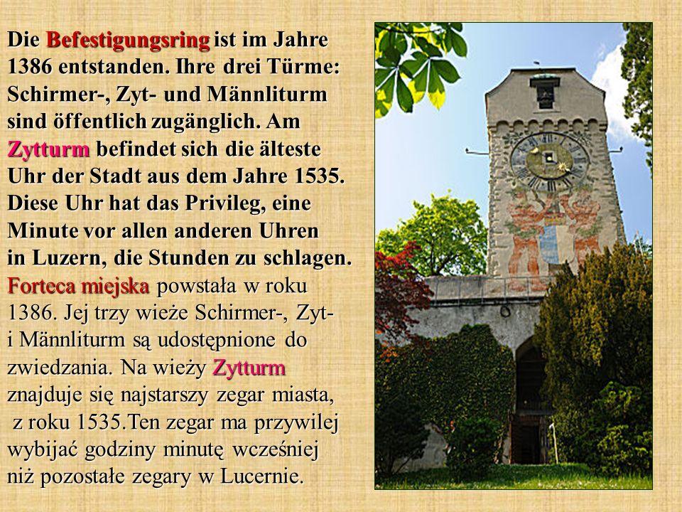 Die Befestigungsring ist im Jahre 1386 entstanden. Ihre drei Türme: Schirmer-, Zyt- und Männliturm sind öffentlich zugänglich. Am Zytturm befindet sic