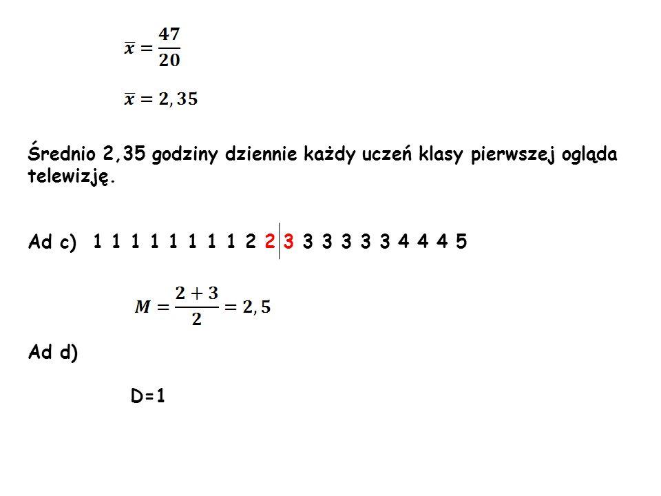 Średnio 2,35 godziny dziennie każdy uczeń klasy pierwszej ogląda telewizję. Ad c) 1 1 1 1 1 1 1 1 2 2 3 3 3 3 3 3 4 4 4 5 Ad d) D=1