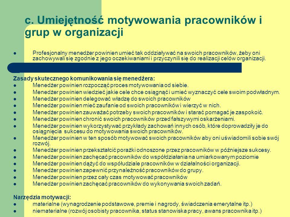 c. Umiejętność motywowania pracowników i grup w organizacji Profesjonalny menedżer powinien umieć tak oddziaływać na swoich pracowników, żeby oni zach