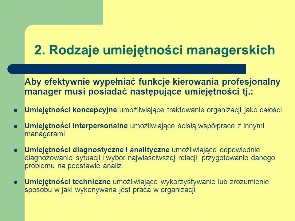 2. Rodzaje umiejętności managerskich Aby efektywnie wypełniać funkcje kierowania profesjonalny manager musi posiadać następujące umiejętności tj.: Umi
