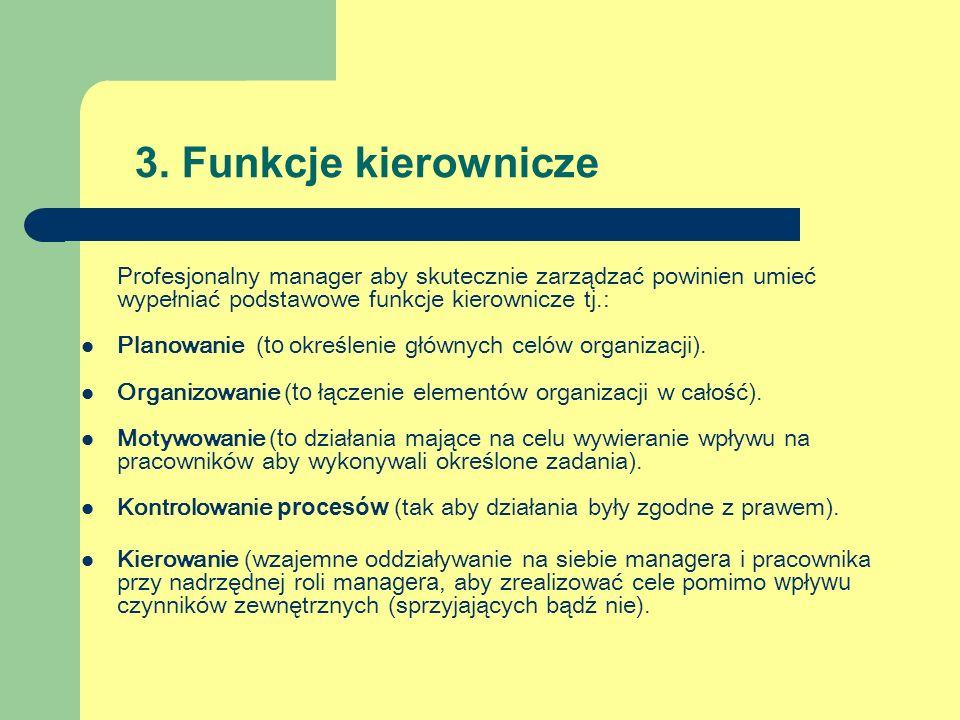 3. Funkcje kierownicze Profesjonalny manager aby skutecznie zarządzać powinien umieć wypełniać podstawowe funkcje kierownicze tj.: Planowanie (to okre