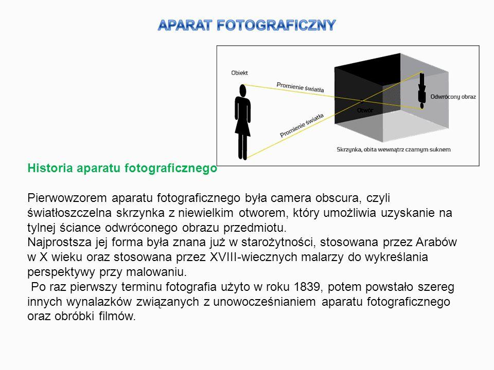 Historia aparatu fotograficznego Pierwowzorem aparatu fotograficznego była camera obscura, czyli światłoszczelna skrzynka z niewielkim otworem, który umożliwia uzyskanie na tylnej ściance odwróconego obrazu przedmiotu.