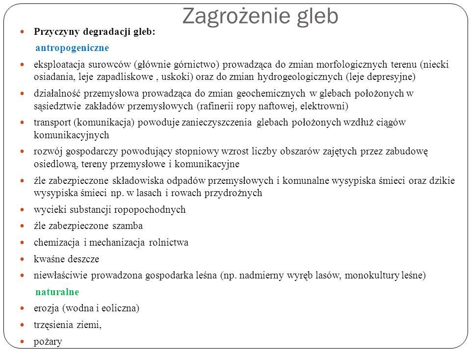 Zagrożenie gleb Przyczyny degradacji gleb: antropogeniczne eksploatacja surowców (głównie górnictwo) prowadząca do zmian morfologicznych terenu (nieck