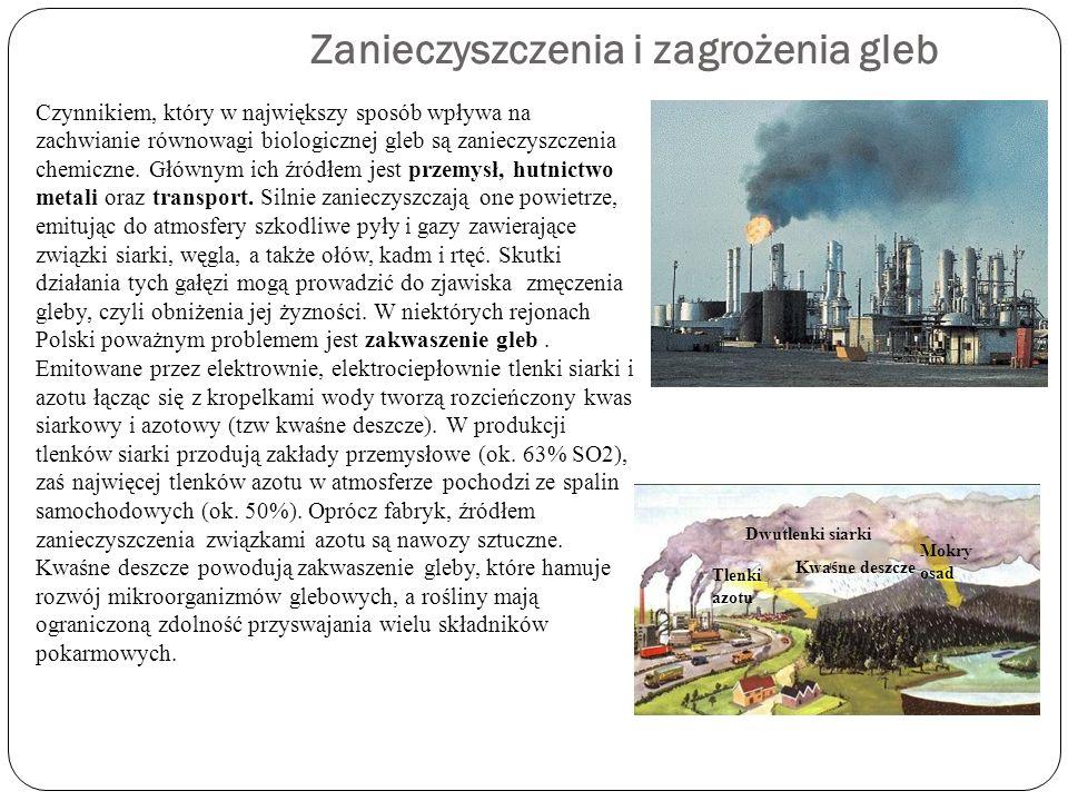 Zanieczyszczenia i zagrożenia gleb Czynnikiem, który w największy sposób wpływa na zachwianie równowagi biologicznej gleb są zanieczyszczenia chemiczn