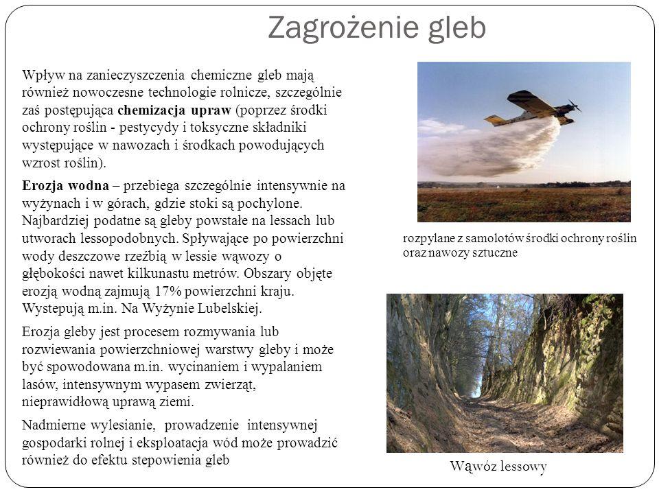 Zagrożenie gleb Wpływ na zanieczyszczenia chemiczne gleb mają również nowoczesne technologie rolnicze, szczególnie zaś postępująca chemizacja upraw (p