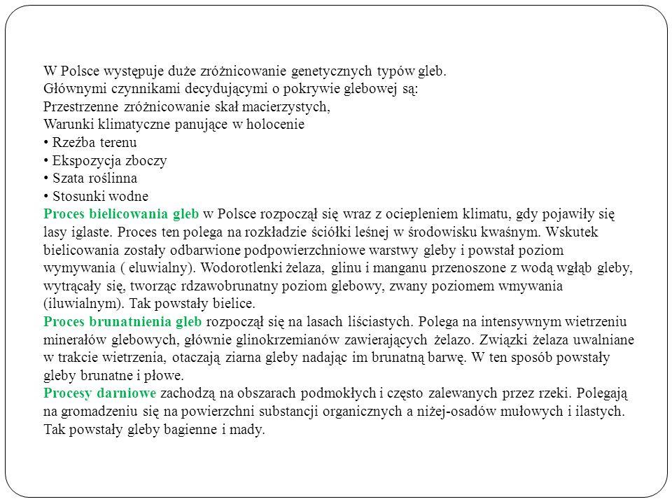 W Polsce występuje duże zróżnicowanie genetycznych typów gleb. Głównymi czynnikami decydującymi o pokrywie glebowej są: Przestrzenne zróżnicowanie ska