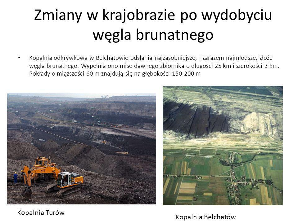 Zmiany w krajobrazie po wydobyciu węgla brunatnego Kopalnia odkrywkowa w Bełchatowie odsłania najzasobniejsze, i zarazem najmłodsze, złoże węgla bruna