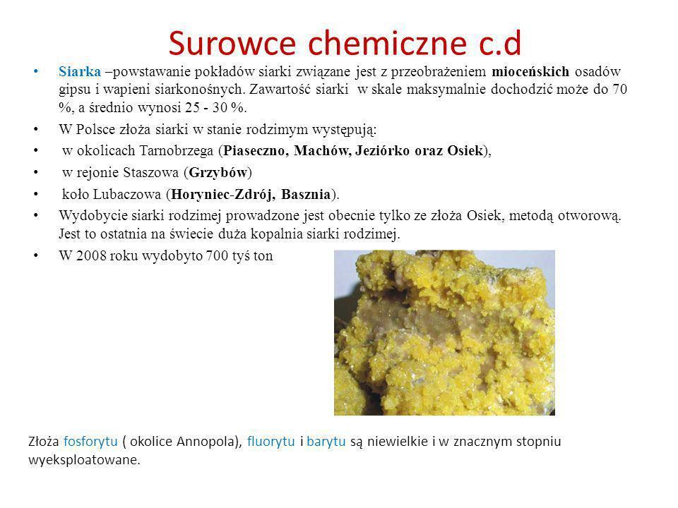 Surowce chemiczne c.d Siarka –powstawanie pokładów siarki związane jest z przeobrażeniem mioceńskich osadów gipsu i wapieni siarkonośnych. Zawartość s