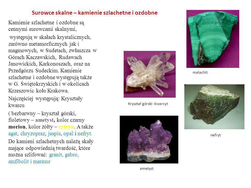 Surowce skalne – kamienie szlachetne i ozdobne Kamienie szlachetne i ozdobne są cennymi surowcami skalnymi, występują w skałach krystalicznych, zarówn