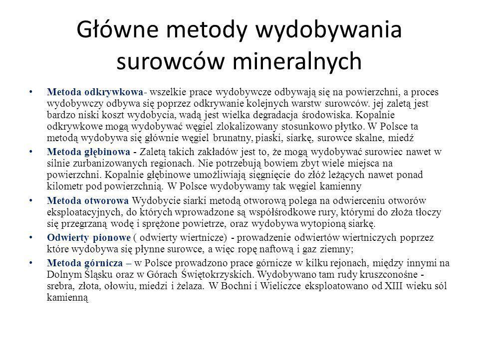 Główne metody wydobywania surowców mineralnych Metoda odkrywkowa- wszelkie prace wydobywcze odbywają się na powierzchni, a proces wydobywczy odbywa si